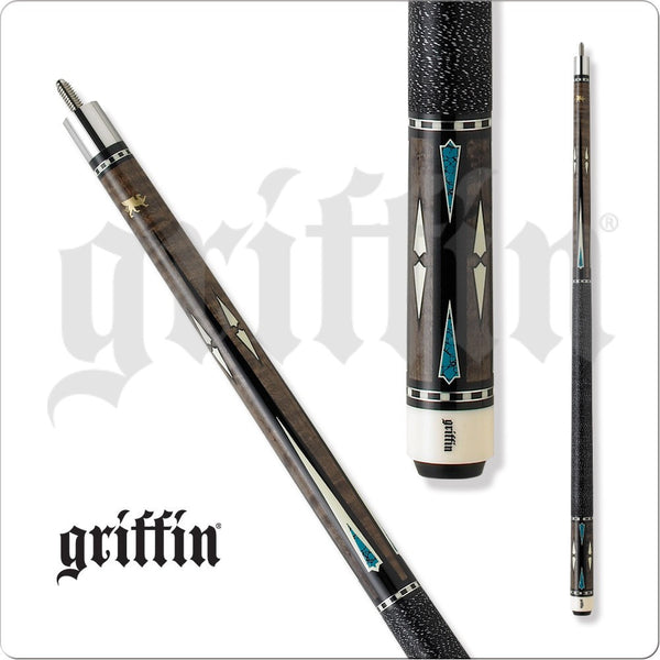 Griffin Pool Cue - GR05 - Grey Stain w/ White & Turquoise Diamonds - absolute cues