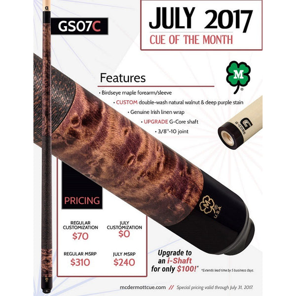 McDermott Pool Cue - GS07C - McDermott July Cue Of The Month - absolute cues