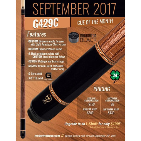 McDermott Pool Cue - G429C - McDermott September Cue Of The Month - absolute cues