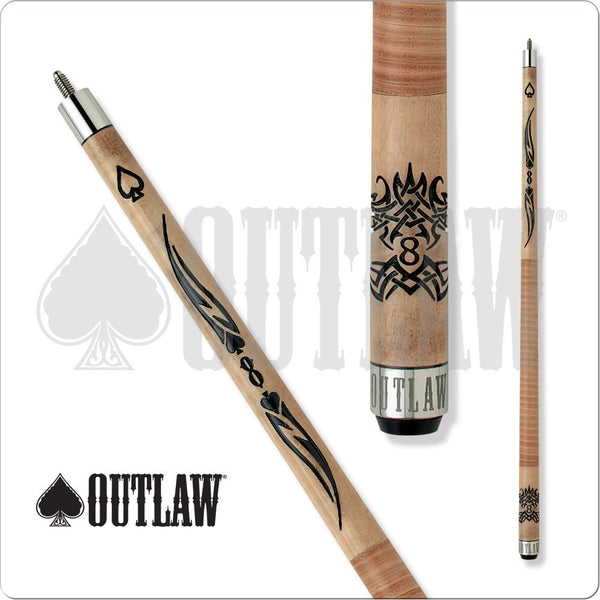 Outlaw Pool Cue - OL04 - Brown Maple - Brown Wrap - Spades and 8Ball - absolute cues