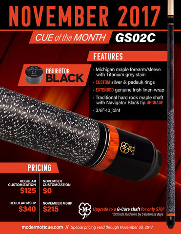 McDermott Pool Cue - GS02C - McDermott November Cue Of The Month