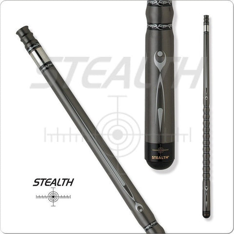 Stealth Pool Cue - Ergonomic Grip, STH12, Black And Silver Rings - absolute cues