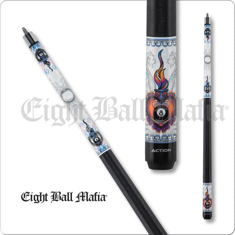 Eight Ball Mafia Cues - Pool Cues - EBM12 - Flaming Heart with 8Ball - absolute cues