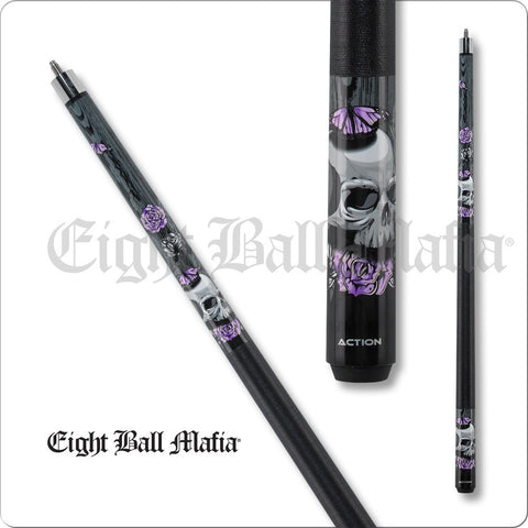 Eight Ball Mafia Cues - Pool Cues - EBM14 - Skulls with Purple Roses - absolute cues
