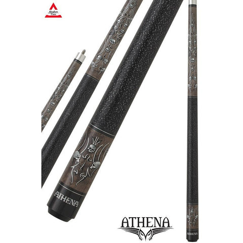 Athena Pool Cues - Ladies Cue - ATH37 - Gray Stain, Foil Tribal, Skulls - absolute cues
