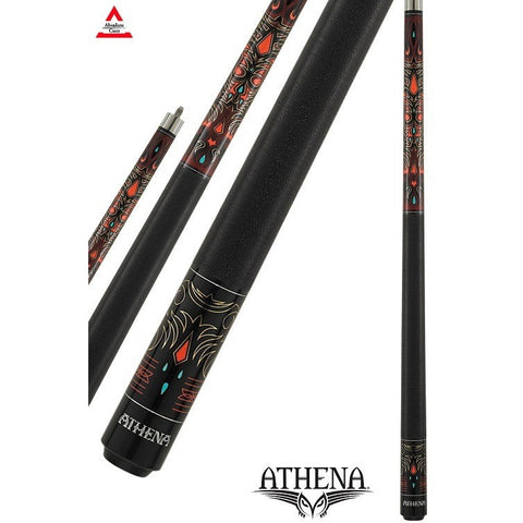 Athena Pool Cues - Ladies Cue - ATH41 - Burgundy Stain, Tribal design - absolute cues