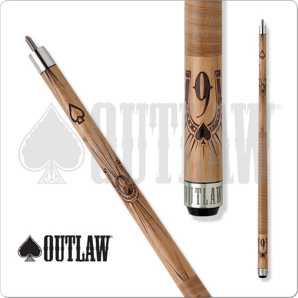 Outlaw Pool Cue - OL07 - Brown Maple - Brown Wrap - 9Ball W/HorseShoe - absolute cues