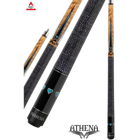 Athena Pool Cues - Woman Cue - ATH04 - Black Stain with Blue Hearts - absolute cues