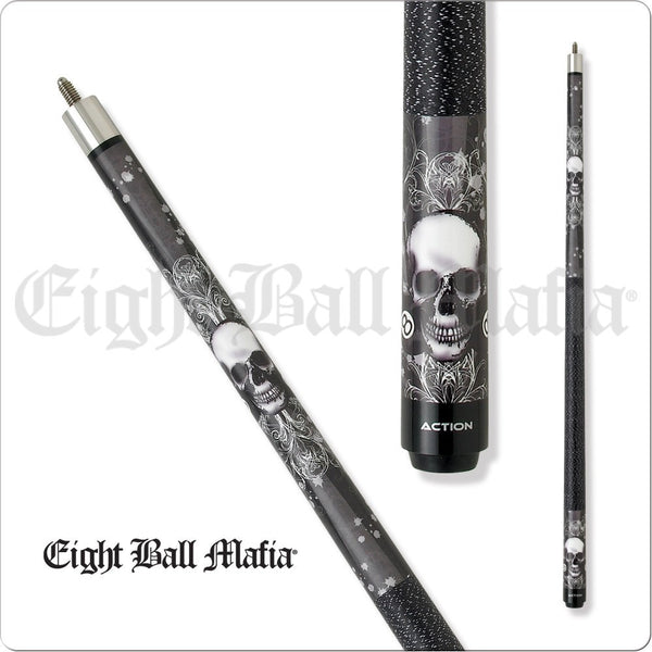 Eight Ball Mafia Cues - Pool Cues - EBM02 - Skull Design with 8 Ball - absolute cues