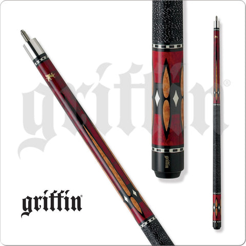 Griffin Pool Cue - GR21 - Brown Stain - Burgundy, White Diamonds - absolute cues