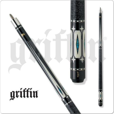 Griffin Pool Cue - GR22 - Black With White and Turquoise Diamonds - absolute cues