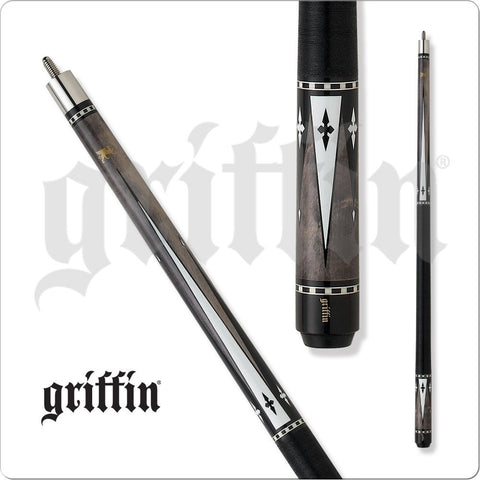 Griffin Pool Cue - GR24 - Grey Stain with Black and White Diamonds - absolute cues