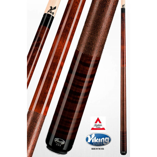 Viking Pool Cues - A248 - Coffee Curly Maple - V Pro Shaft - absolute cues