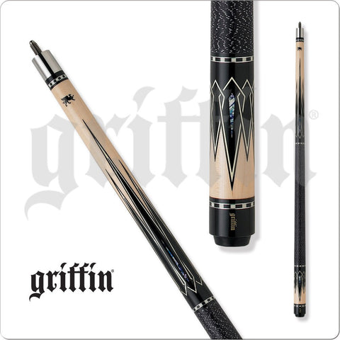 Griffin Pool Cue - GR26 - Black and White Overlaid Points and Marble - absolute cues