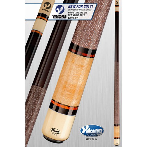 Viking Pool Cue A291 - Coffee and Khaki - ViKORE Shaft & Wrap - absolute cues