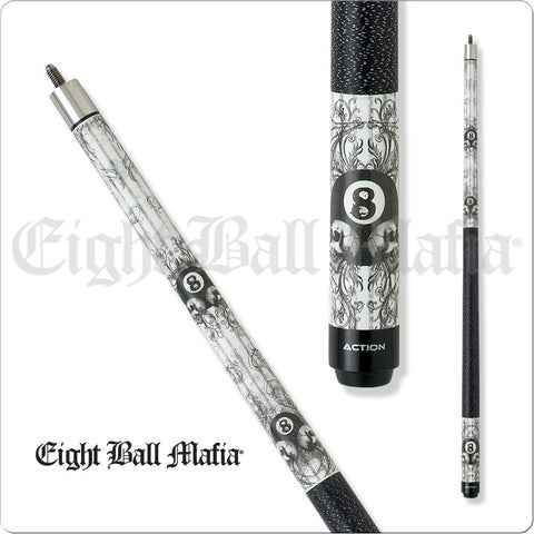 Eight Ball Mafia Cues - Pool Cues - EBM03 - Black and White 8Ball Grunge - absolute cues