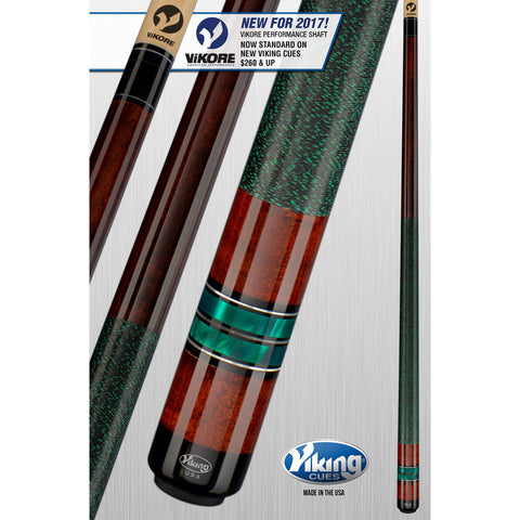 Viking Pool Cue A303 - Coffee, Green Pearls - ViKORE Shaft & Wrap - absolute cues