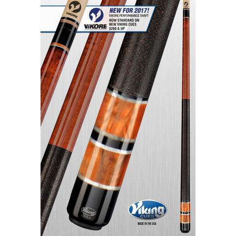 Viking Pool Cue A314 - Autumn, Bronze Pearls - ViKORE Shaft & Wrap - absolute cues