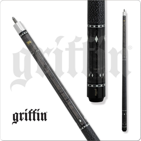 Griffin Pool Cue - GR32 - Gray Stain Maple with Black Lines Diamond - absolute cues