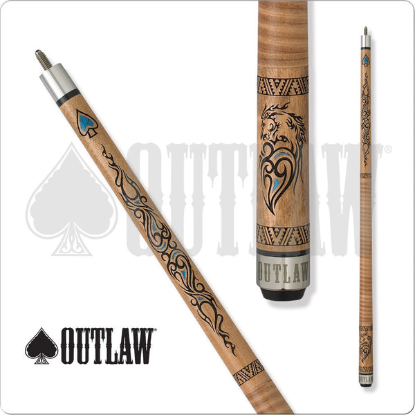 Outlaw Pool Cue - OL35 - Outlaw Thunder - Mustang - Turquoise Accents - absolute cues