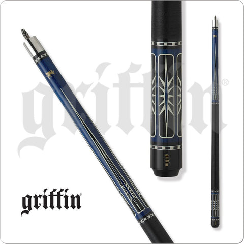 Griffin Pool Cue - GR35 - Blue Stain Maple with Black and Cream Overlay - Absolute Cues