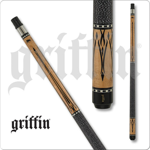 Griffin Pool Cue - GR37 - Black with Ivory Colored Overylay Points - absolute cues