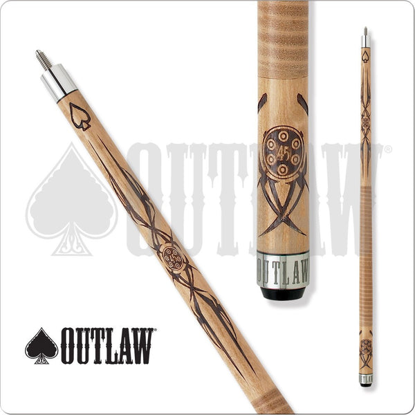 Outlaw Pool Cue - OL09 - Brown Maple - Six Shooter 45 Chamber - absolute cues
