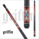 Griffin Pool Cue - GR41 - Cherry Stain with Cream Swallowtail Points - absolute cues