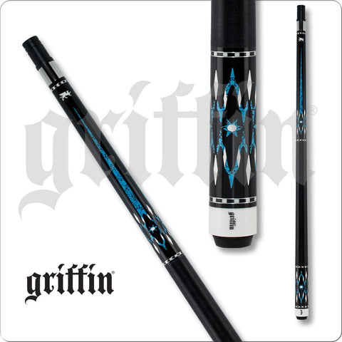 Griffin Pool Cue - GR42 - Black W/Turquoise Points - Diamond Overlay - absolute cues