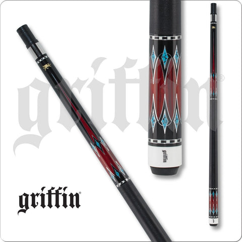 Griffin Pool Cue - GR43 - Black with Cherry Stain Turquoise Points - absolute cues