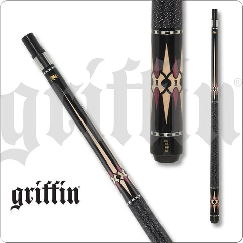 Griffin Pool Cue - GR44 - Black, Brown with Maple Diamond Points - absolute cues