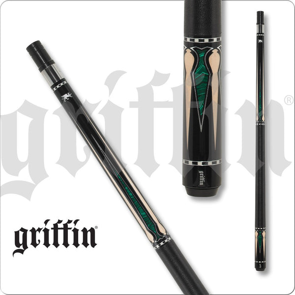 Griffin Pool Cue - GR46 - Black with Green Inlays and Maple