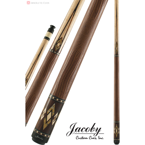 Jacoby Pool Cues, HB4J Birdseye Maple Leather Wrap, Low Deflection