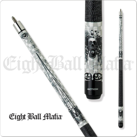 Eight Ball Mafia Cues - Pool Cues - EBM06 - Checkerboard, Skull 8Ball - absolute cues