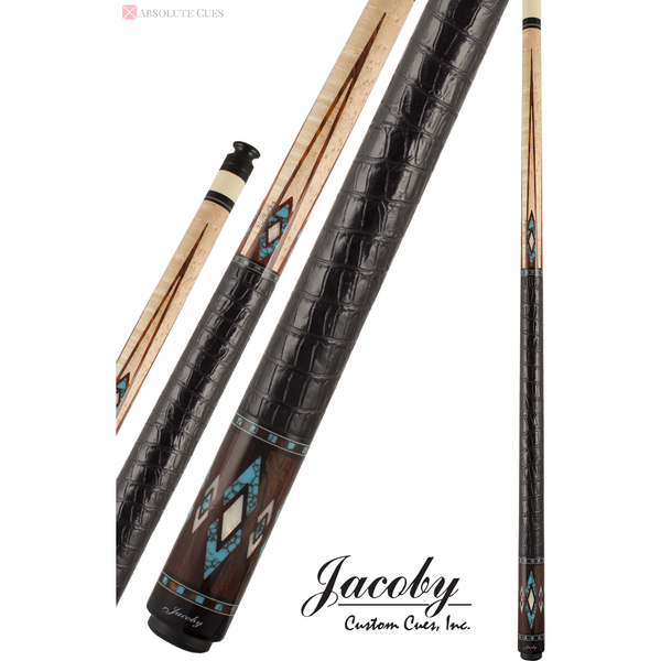 Jacoby Pool Cues, HB4T Cocobolo W/Black Leather Wrap, Low Deflection - absolute cues