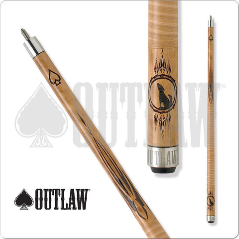 Outlaw Pool Cue - OL13 - Brown Maple - Howling Wolf in Dreamcatcher - absolute cues