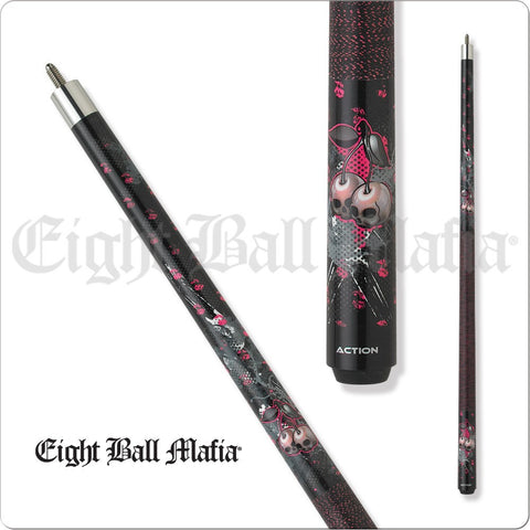 Eight Ball Mafia Cues - Pool Cues - EBM07 - Cherry head skulls, Pink - absolute cues