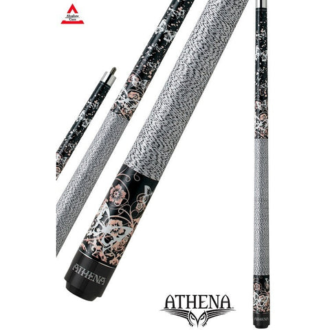 Athena Pool Cues - Woman Cue - ATH18 - Black, Painted Butterflies - absolute cues
