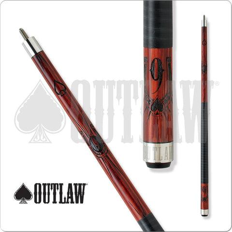 Outlaw Pool Cue - OL14 - Cherry Stain - 9Ball with a Horseshoe - absolute cues