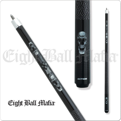 Eight Ball Mafia Cues - Pool Cues - EBM08 - Puzzle, Mirrored Skulls - absolute cues