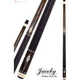 Jacoby Pool Cues, HB8, Zircote With Black Leather Brand, Low Deflection - absolute cues