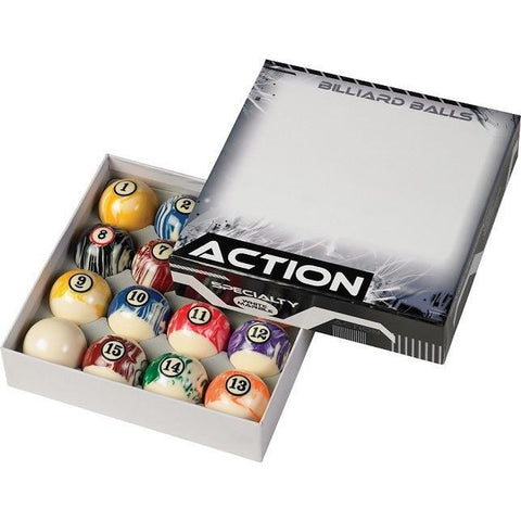 Action Billiard Balls - BBWM - White Marble Pool Ball Set - absolute cues