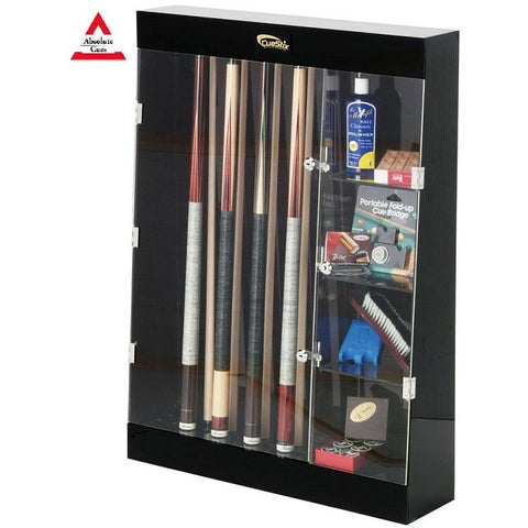 Cuestix 10 Pool Cue Wall Display Case - Plexiglas and lock With Shelves - absolute cues