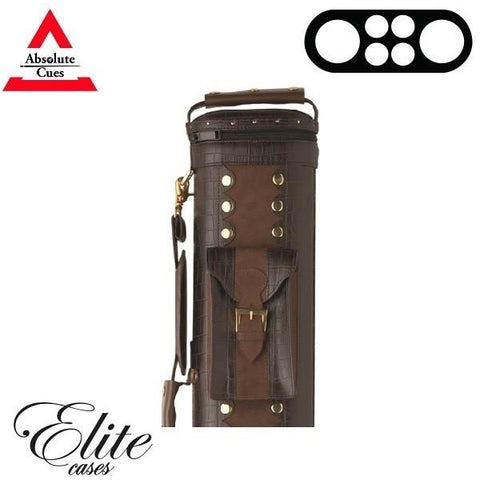 Elite Pool Cue Case - 2x4 - Classic Brown Leather Hard Cue Case - absolute cues