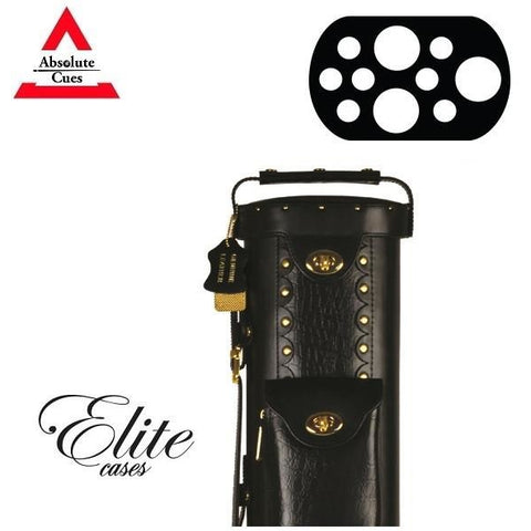 Elite Pool Cue Case - 3x7 - Hard Leather Cue Case - black