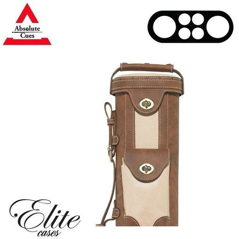 Elite Pool Cue Case - 2x4 - Vintage Leather Cue Case Chestnut - absolute cues
