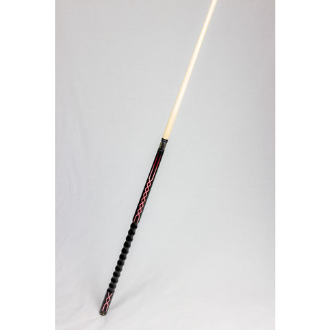 Stealth Pool Cue - Ergonomic Grip, DEF-63, Red White Lightning, 19oz - absolute cues