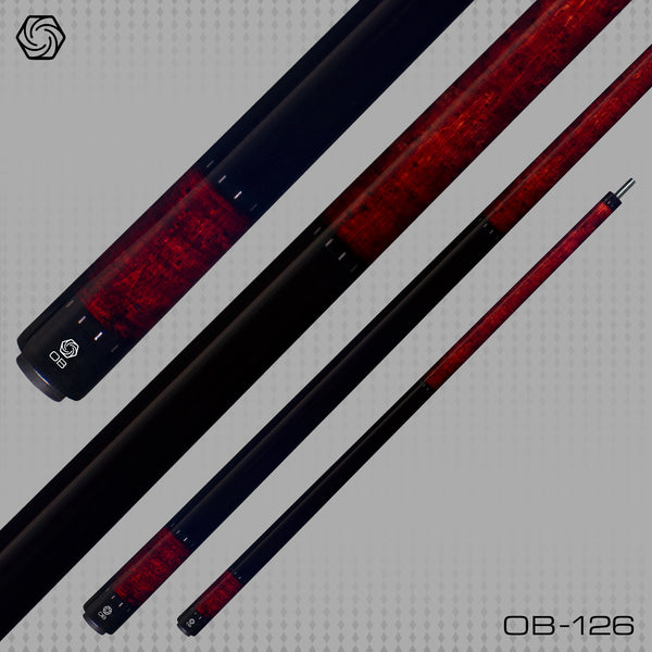 OB Pool Cues -OB-126 -Burgundy No Wrap -OB+ Shaft -Low Deflection - ABSOLUTE CUES