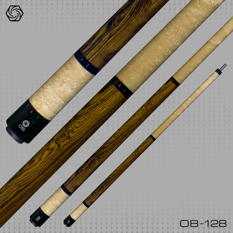 OB Pool Cues - OB-128 -Bocote No Wrap - OB+ Shaft -Low Deflection - absolute cues