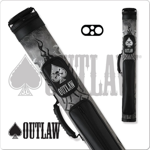 Outlaw Pool Cue Case - OLB22A - 2x2 - Black and Grey Tribal Hard Case - absolute cues